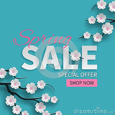 Spring sale floral banner with paper cut blooming pink cherry flowers on blue background for seasonal design of banner, flyer Vector Illustration