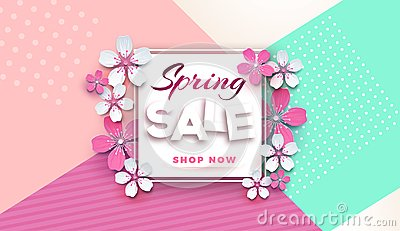 Spring sale floral banner with paper cut blossoming pink cherry flowers on a stylish geometric background for seasonal banner desi Cartoon Illustration