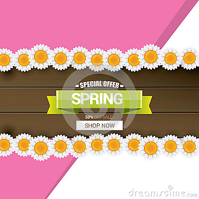 Spring sale label with beautiful flowers Vector Illustration