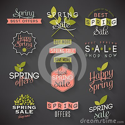 Free Spring Sale Labels Royalty Free Stock Image - 40986166