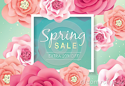 Spring sale poster Vector Illustration