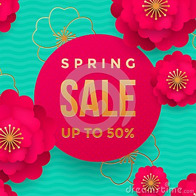 Spring sale poster or web banner design template. Vector springtime flowers and golden glitter text for discount promo Vector Illustration