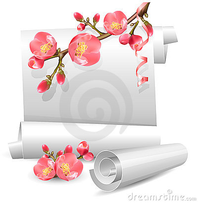 Spring  scrolls with flowering quince.