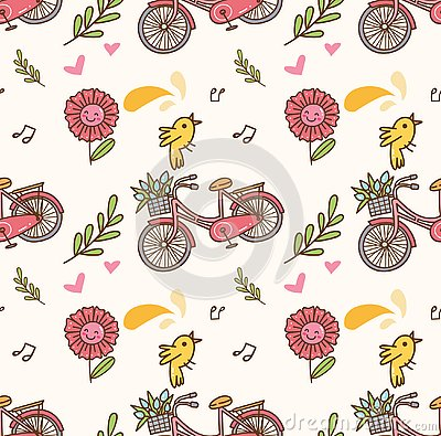 Spring seamless background with bicycle, flower and singing bird Stock Photo