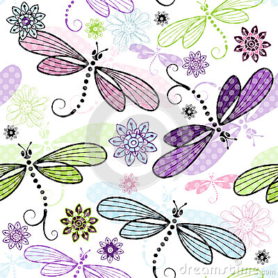 Free Spring Seamless Floral Pattern With Dragonflies Royalty Free Stock Photos - 33914328