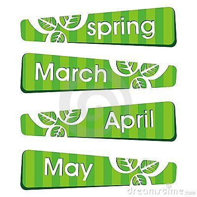 Spring season stickers and label