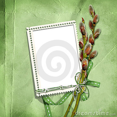 Spring stamp-frames with pussy-willow