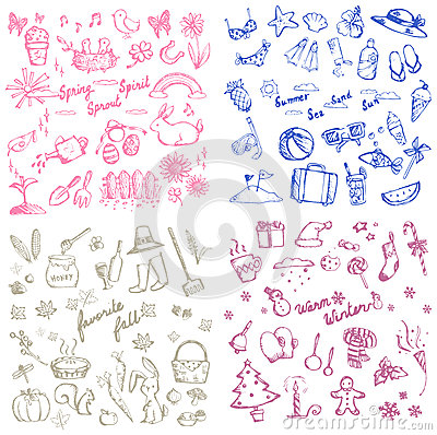 Free Spring Summer Autumn And Winter Holiday Season Doodle Icon Royalty Free Stock Images - 61327429