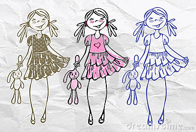 Spring summer cute sweet trend glamour girls Vector Illustration