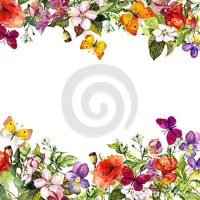 Free Spring, Summer Garden: Flowers, Grass, Herbs, Butterflies. Floral Pattern. Watercolor Stock Photography - 75669322