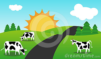 Spring Or Summer Season Landscape with cows.