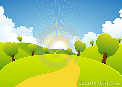 Spring Or Summer Seasons Rural Background