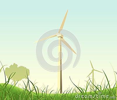 Spring Or Summer Windmills Landscape Vector Illustration