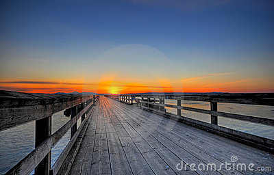 Spring sunrise on a wooden pier, Sidney