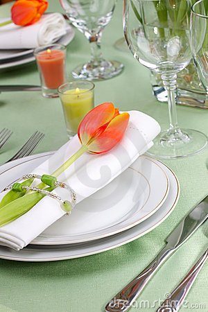 Free Spring Table Settings Royalty Free Stock Images - 7820199