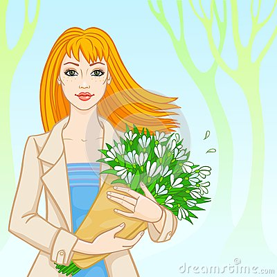 Free Spring. The Red-haired Woman With Snowdrops Stock Photo - 38615760