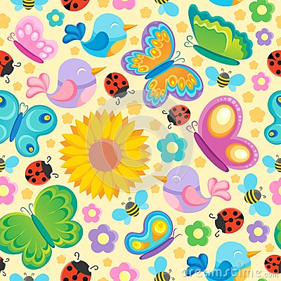 Spring theme seamless background