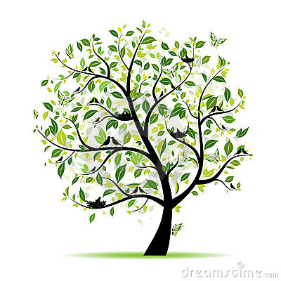 Free Spring Tree Green With Birds For Your Design Stock Photo - 19124940
