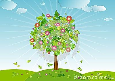 Spring tree,vector