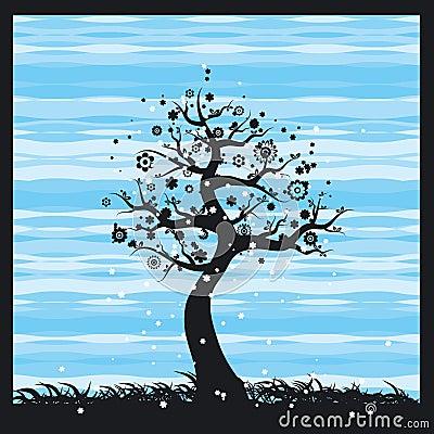 Spring tree, vector
