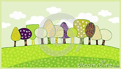Spring trees blooming