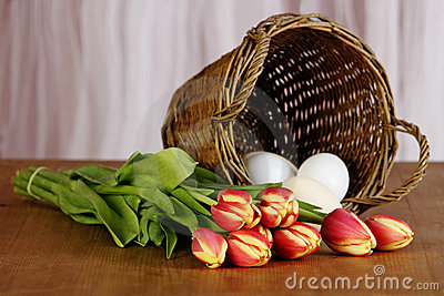 Spring tulip bouquet and eggs