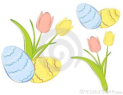 Spring Tulips and Easter Eggs Clipart