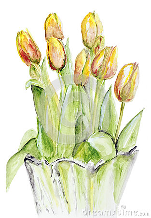 Free Spring Tulips In A Crystal Vase Stock Images - 28152984