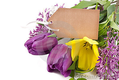 Spring Tulips and Lilac with Tag