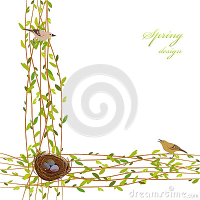 Spring twigs background. Vector Illustration