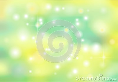Spring vector bokeh abstract background in green and yellow colo Stock Photo
