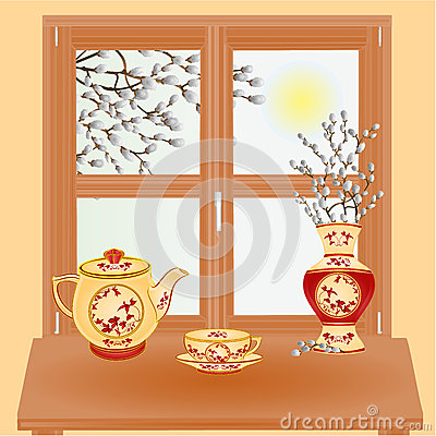 Spring window with pussy willow vector Vector Illustration