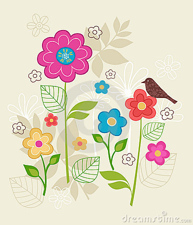 Spring Wings Flowers and Bird Vector