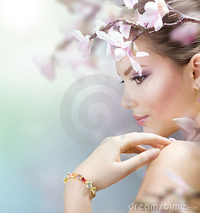 Free Spring Woman With Flowers Stock Photo - 18770690