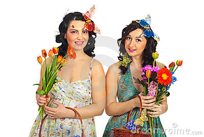 Spring women with fresh flowers