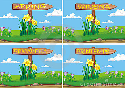 Spring in wooden signpost