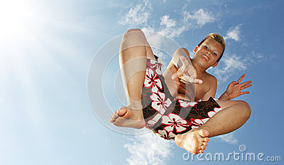 Springende jongen