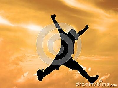 Springender Schattenbildsonnenuntergang Himmelausschnitt Pfad