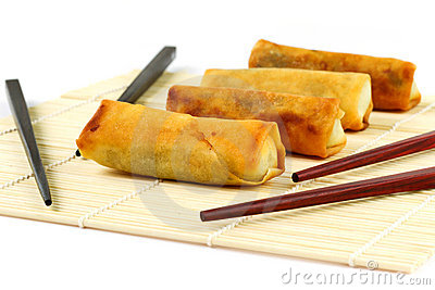 Springrolls close up