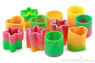 Springs of different form lie on white background