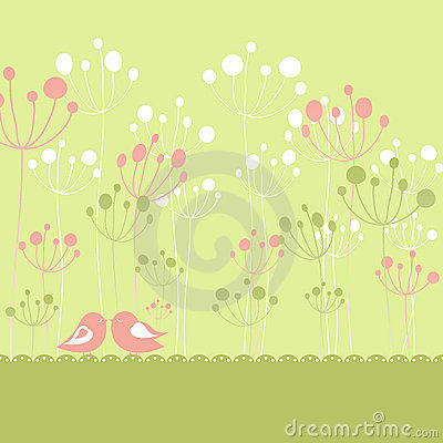 Springtime colorful birds green floral