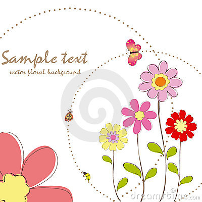 Free Springtime Floral With Butterfly Greeting Card Royalty Free Stock Photography - 14899837
