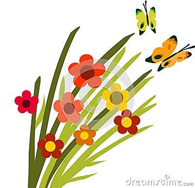 Springtime flower bloom and butterflies -2