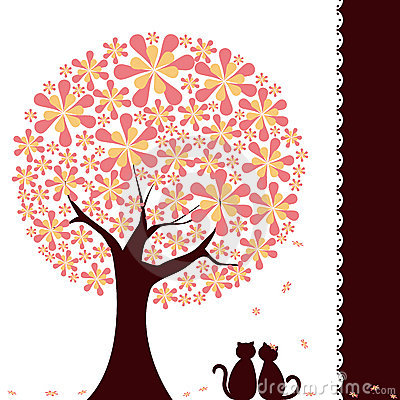 Springtime flower tree with love cats