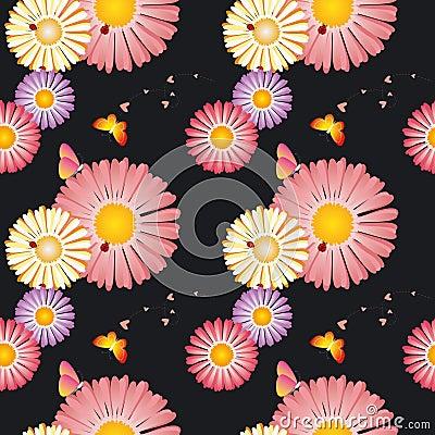 Springtime flowers butterflies seamless pattern