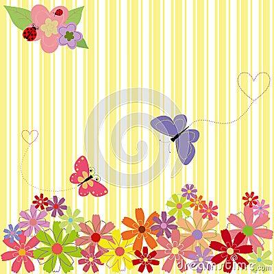 Springtime flowers & butterflies on yellow stripe