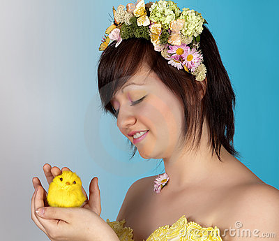 Springtime girl with easter chick