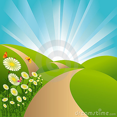 Free Springtime Landscape Green Fields Blue Sky Flowers Royalty Free Stock Photography - 12902527