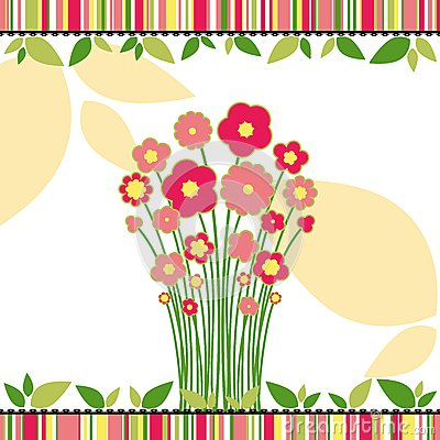Springtime love greeting card with flowers