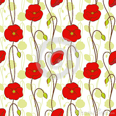 Springtime red poppy flower seamless pattern